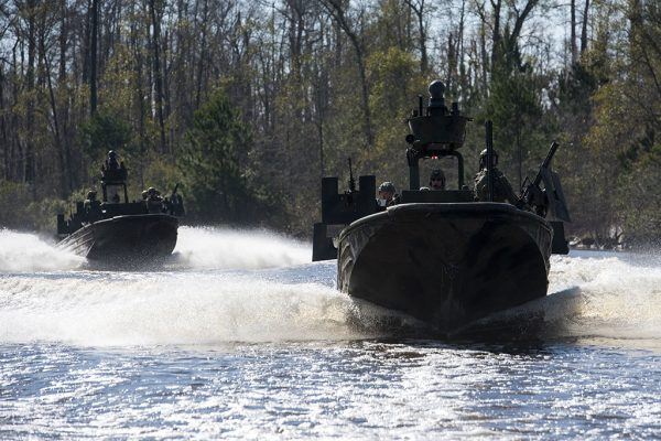 160108-N-AT895-1144 STENNIS SPACE CENTER, Miss. (Jan. 8, 2016) Special warfare combatant-craft crewmen (SWCC) from Special Boat Team (SBT) 22 operate special operations craft-riverine at John C. Stennis Space Center. (U.S. Navy photo by Mass Communication Specialist 1st Class Nathan Laird/Released)